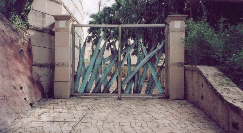 Forged bronze and stainless steel gates, Artist: Antony Donaldson