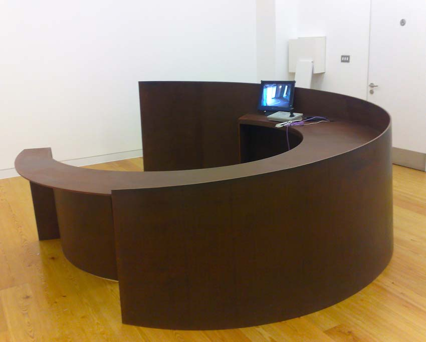 Reception desk, corten steel.