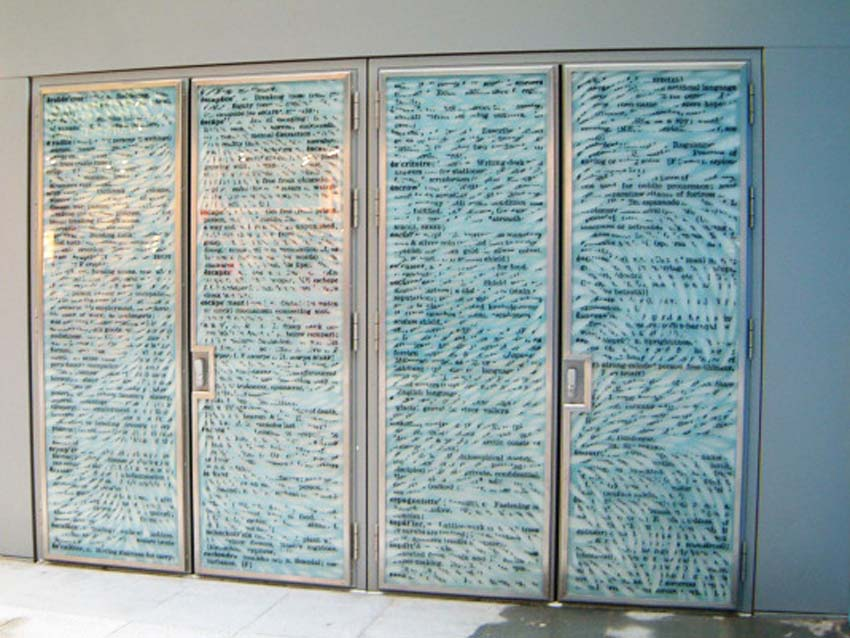 Laminated glass doors with etched and digitally printed imagery, back lit.